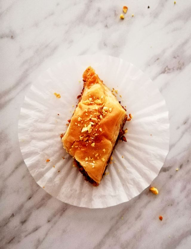 baklava on muffin liner overhead