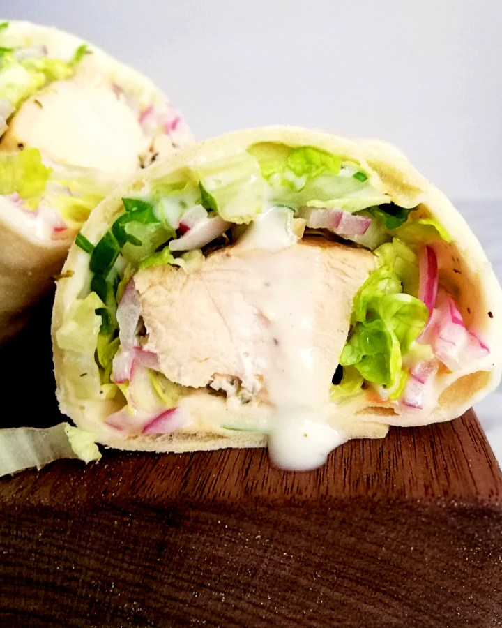 chicken wraps inside view close up