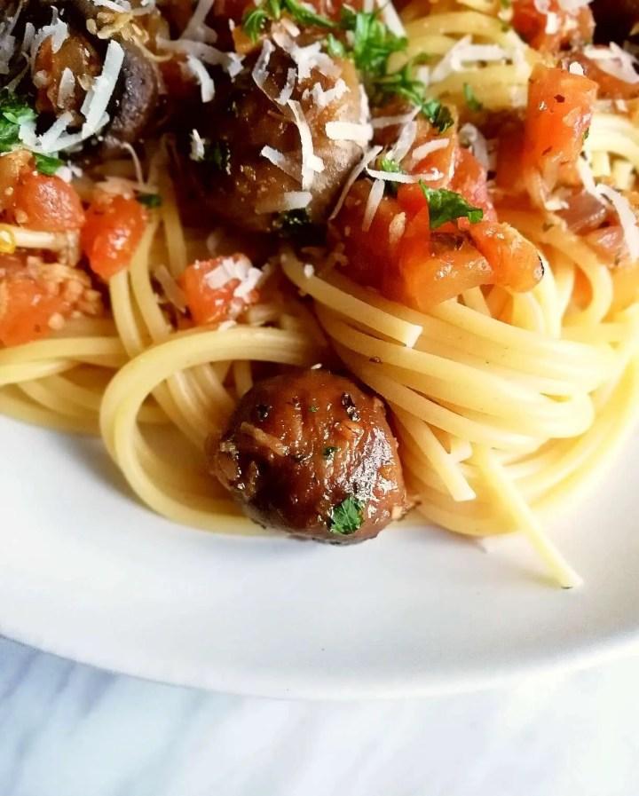 mushroom pasta super close up