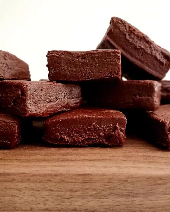 2 ingredient chocolate fudge stacked close up