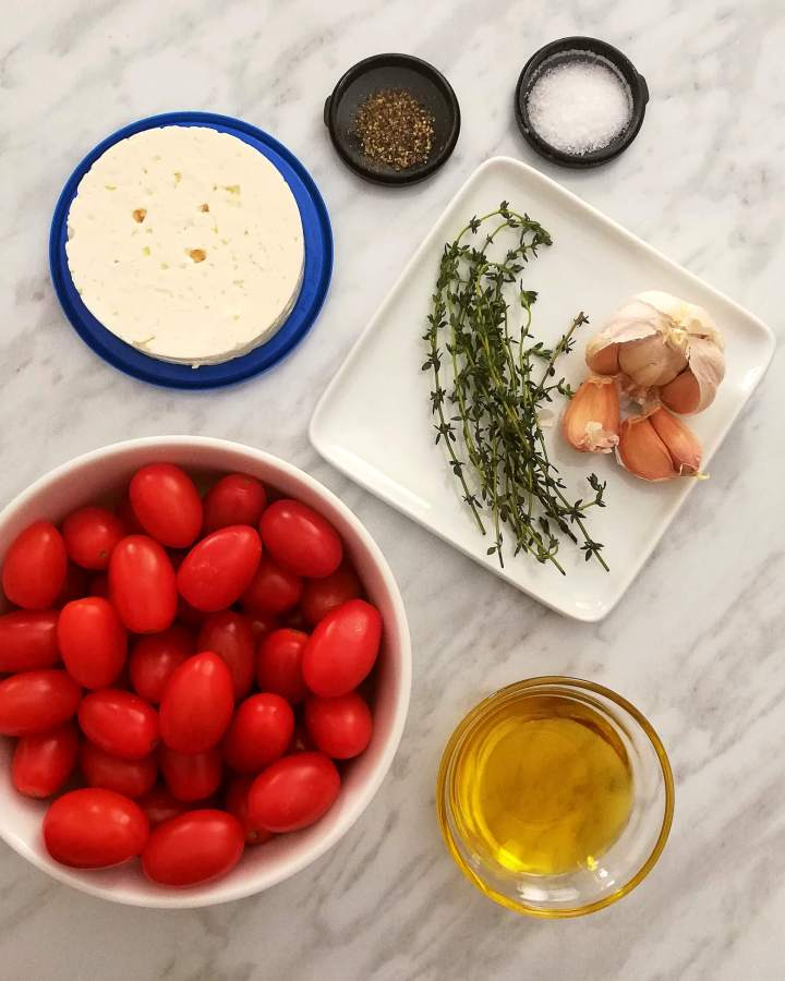baked feta pasta ingredients