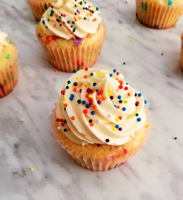 funfetti cupcakes frosted top view