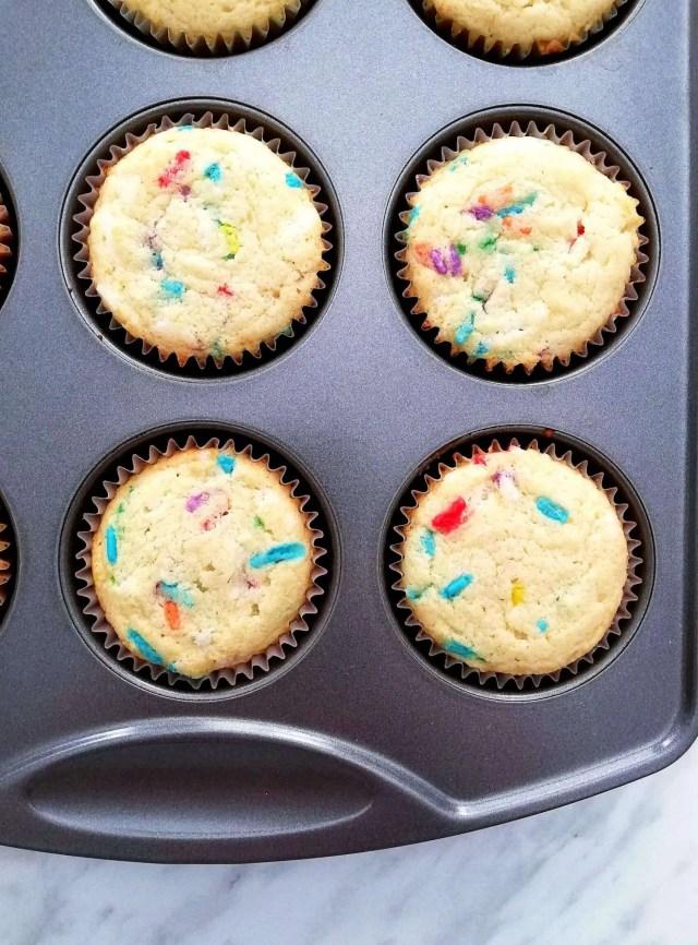 funfetti cupcakes in baking tin overhead