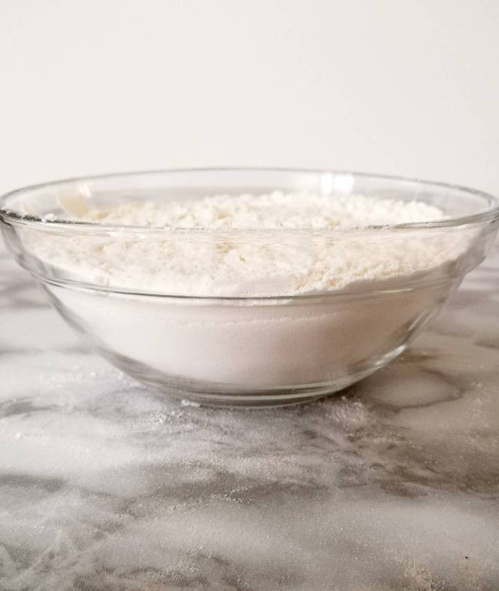 self rising flour in bowl side view