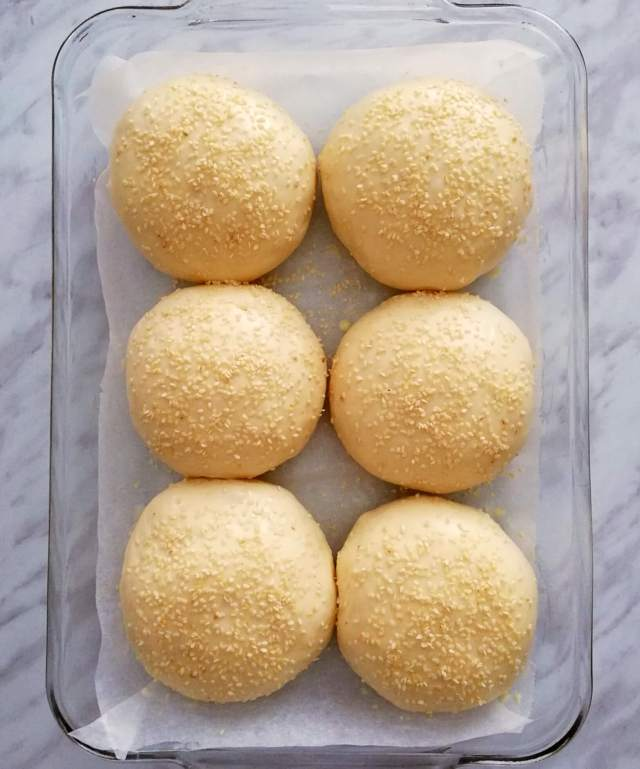 hamburger buns shaped and topped with sesame seeds