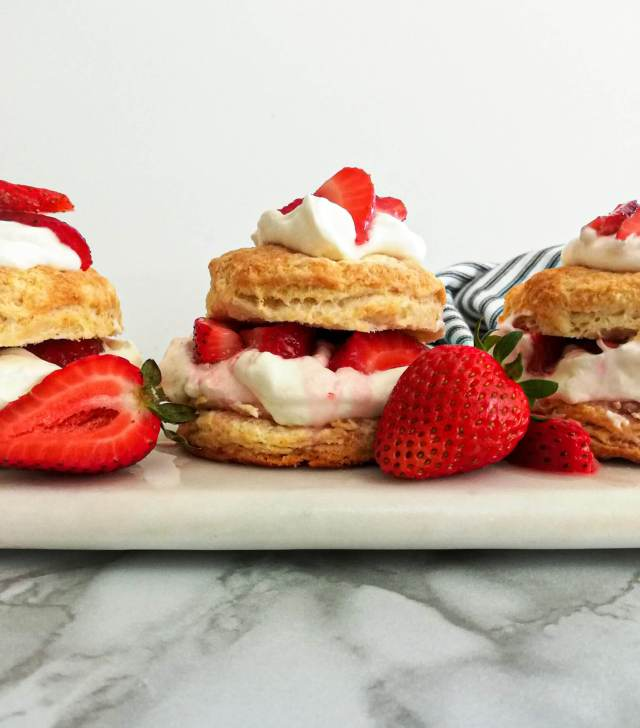 strawberry shortcake assembled and on serving dish head on view