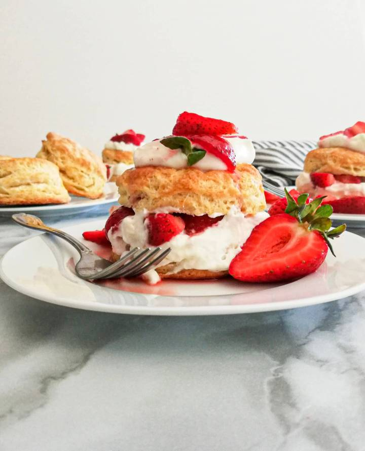 strawberry shortcake in plate head on view