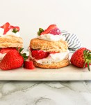 strawberry shortcake on serving platter side view