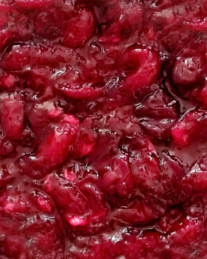 cherry pie filling close up