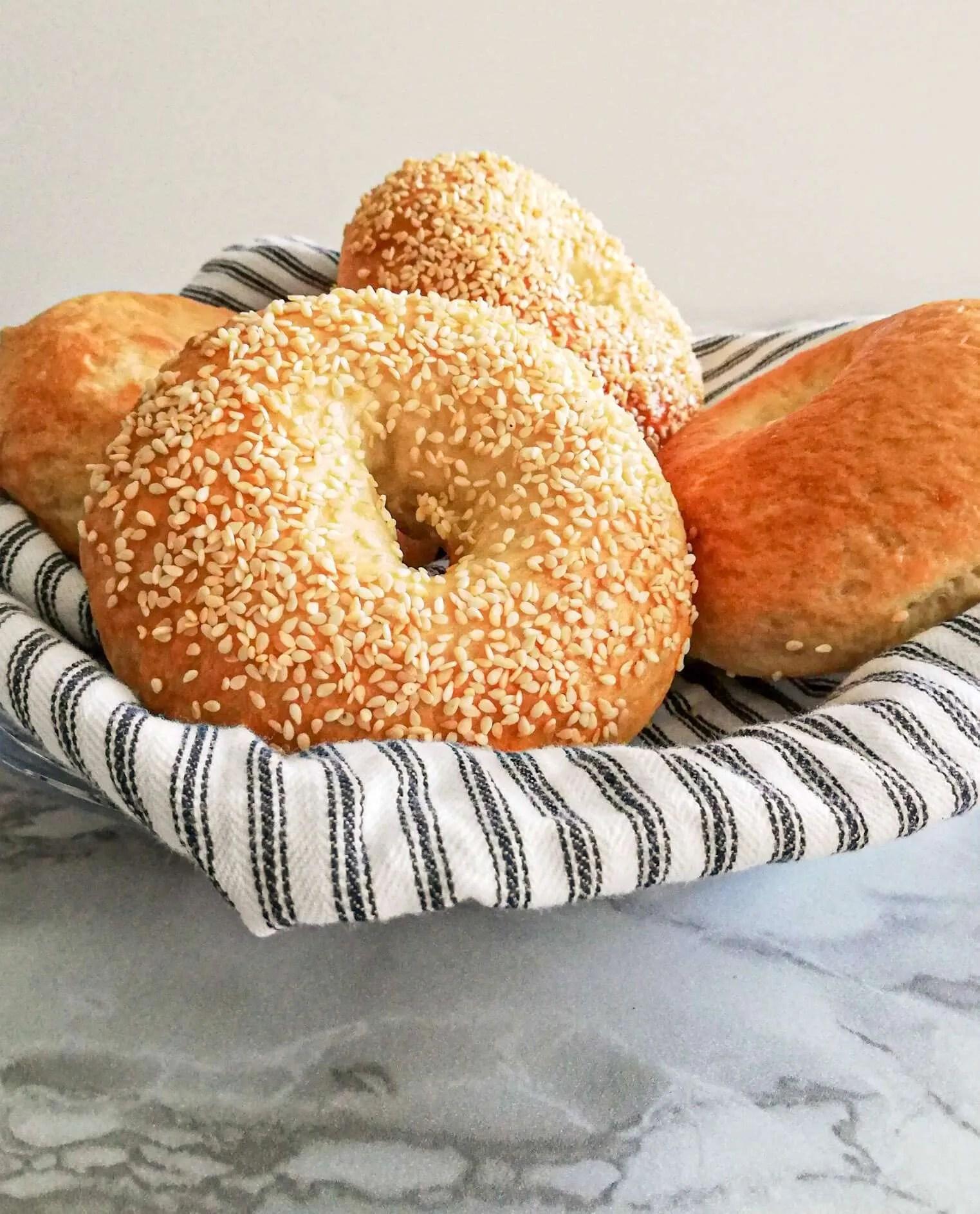 homemade bagels in basket