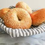 homemade bagels in basket