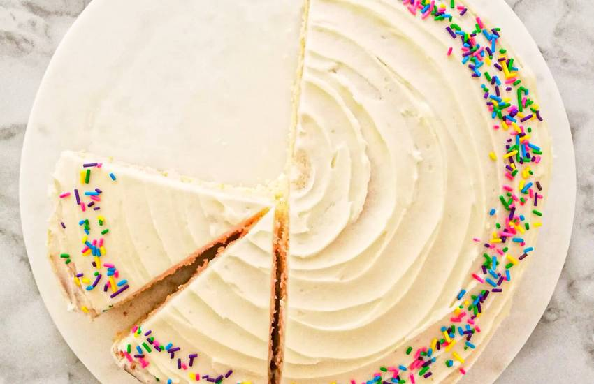 vanilla birthday cake without a cake pan sliced