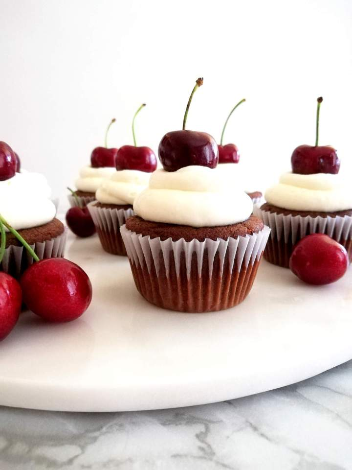 black forest cupcakes on serving platter
