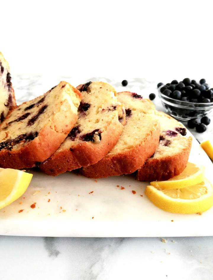 lemon blueberry quick bread sliced and fanned out