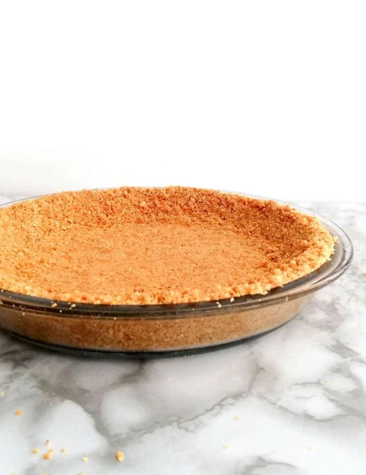 no bake fruit tart no bake graham cracker crust in pie plate side view