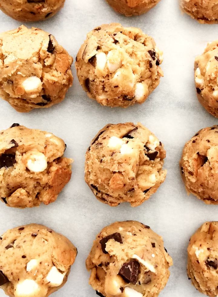 s'mores cookie dough scooped onto parchment paper
