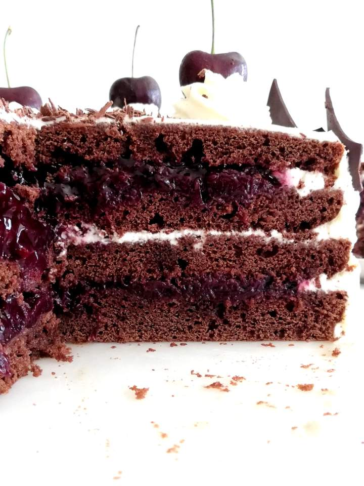 black forest cake sliced inside view