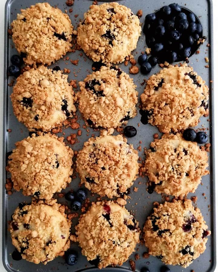blueberry muffins with streusel topping in muffin tin zoomed overhead
