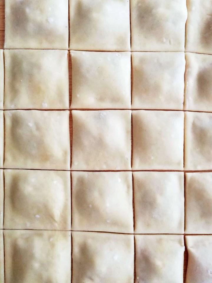 mini pizza bites filled and cut dough