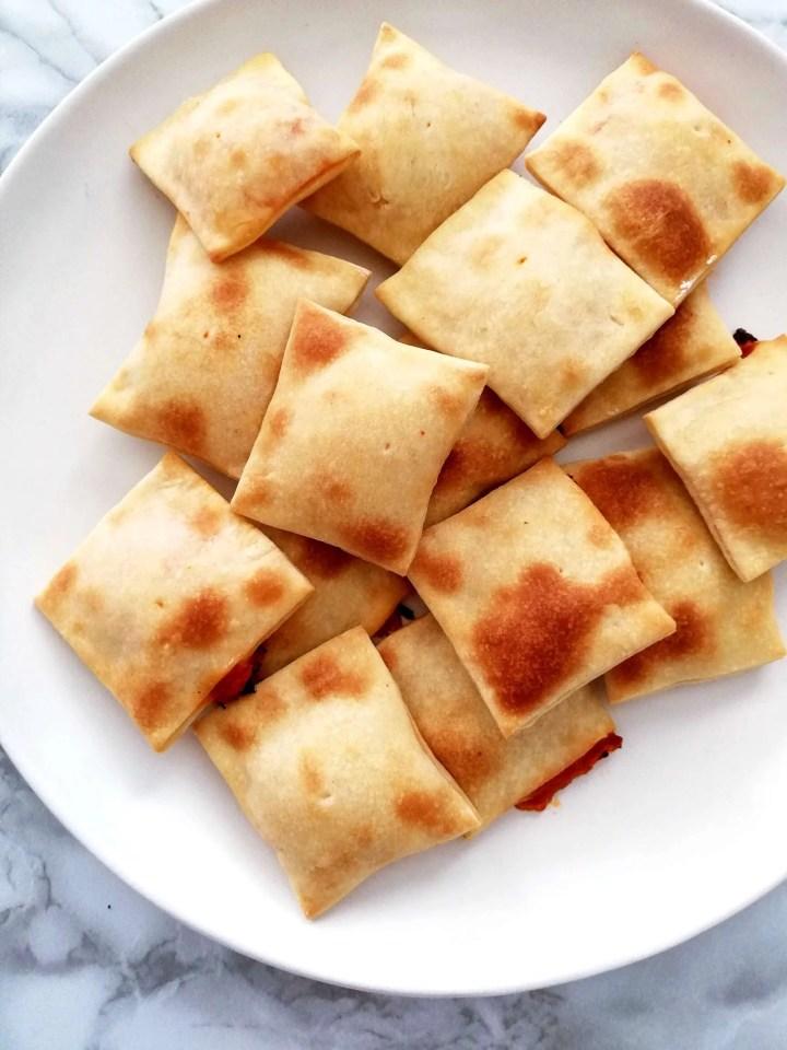 mini pizza bites in plate overhead