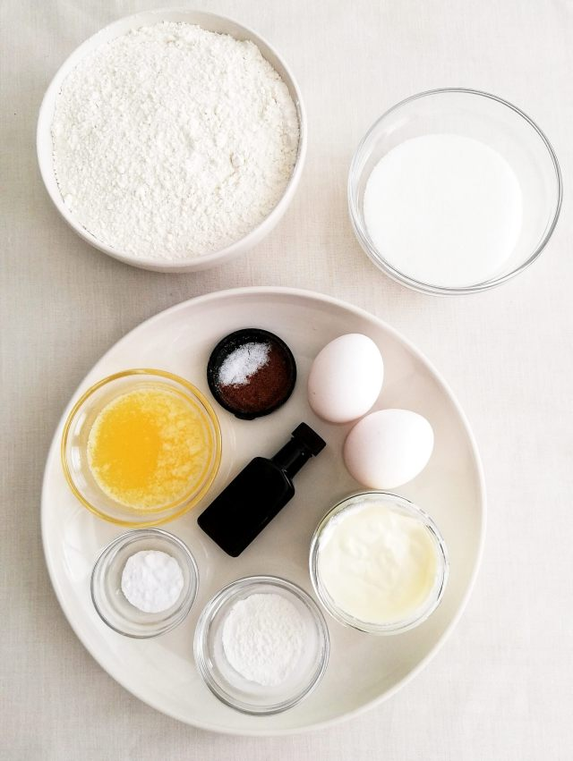sour cream glazed donuts ingredients in bowls