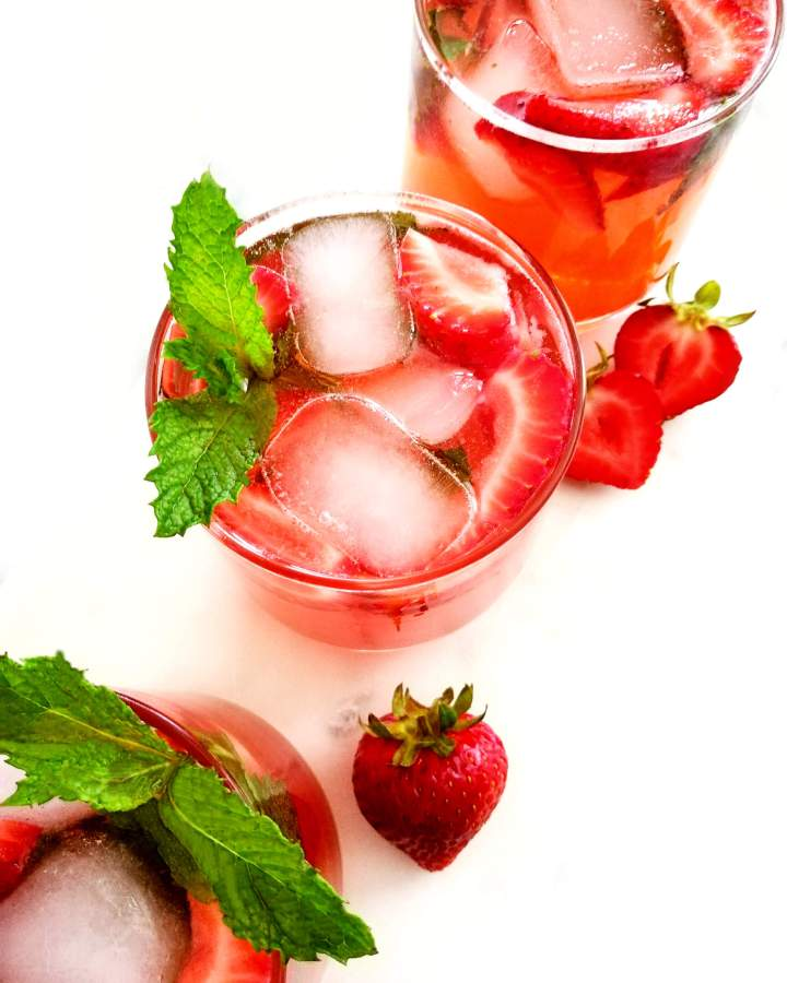strawberry cooler close up of glass overhead image