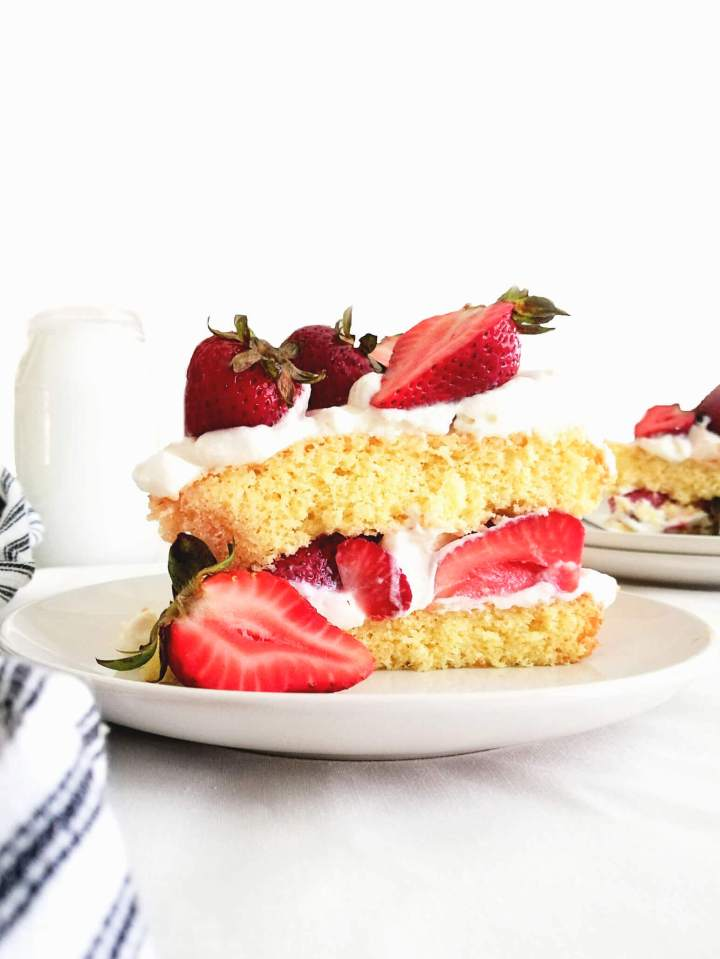 strawberry shortcake cake slice in plate close up head on view (1) (1)