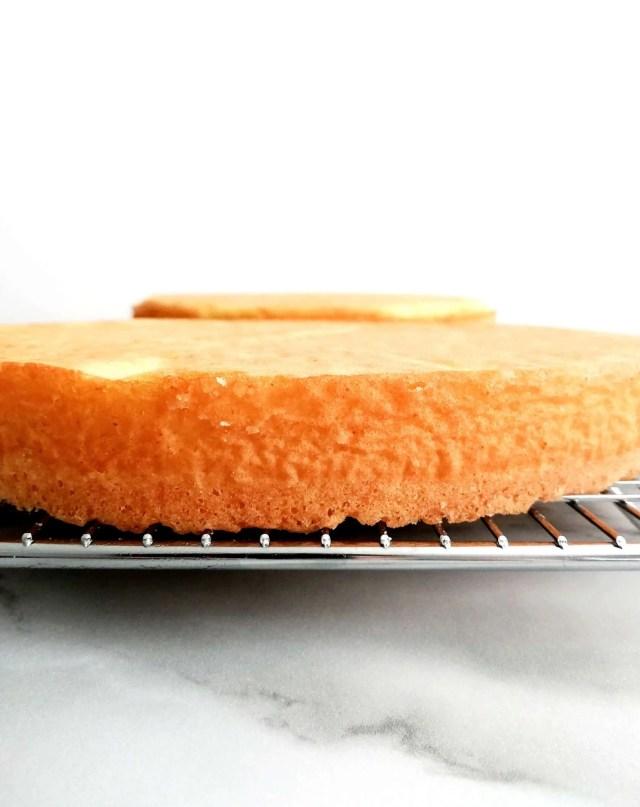 strawberry shortcake cake sponge cake on wire rack side view