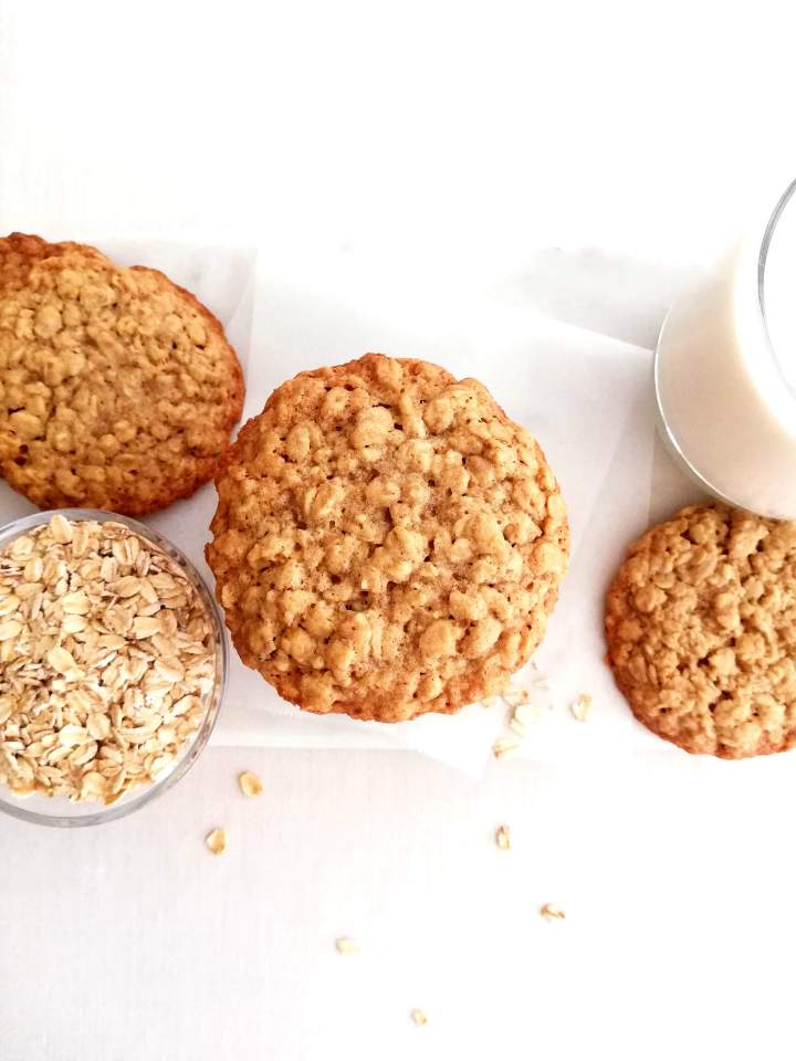 stacked oatmeal cookies on serving platter overhead