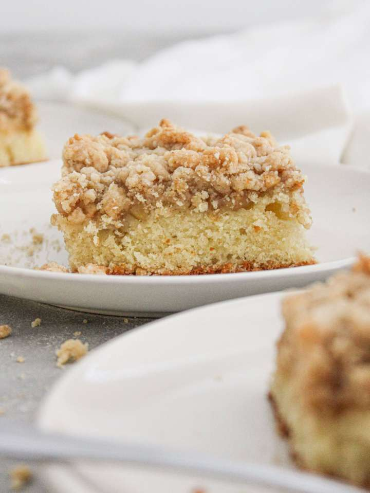 apple cake slice in plate side view