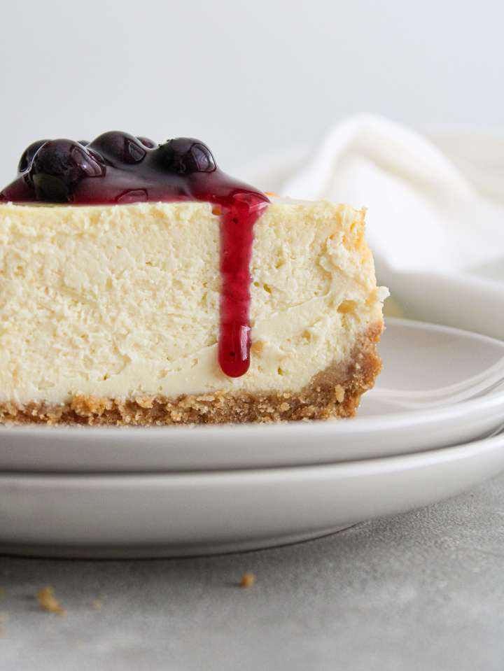 classic cheesecake slice in plate topped with blueberry sauce close up