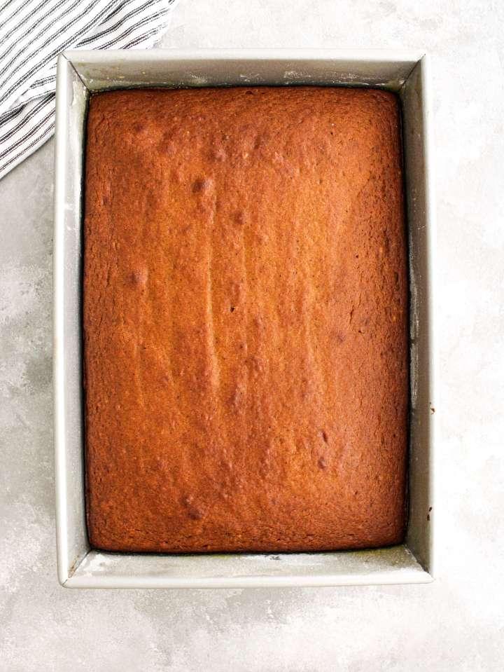 pumpkin sheet cake baked in pan overhead image