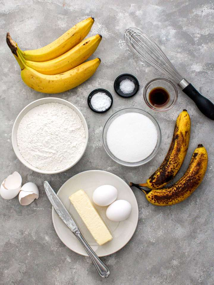 banana bread ingredients laid out overhead image