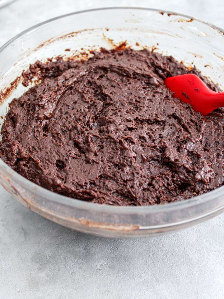 chocolate covered strawberry cake batter before adding coffee