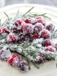sugared cranberries and rosemary on cake (1)