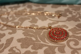 Gold and Orange Pendant Necklace