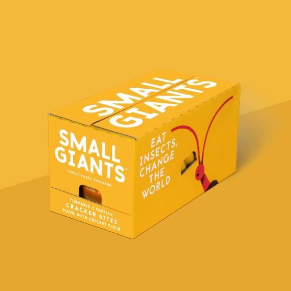 Small Giants Cricket Cracker Bites Turmeric & Smoked Paprika case contains 8 single-serve packs