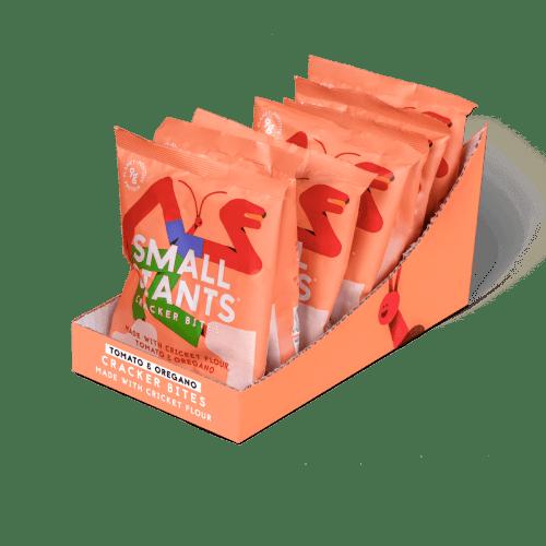 Small Giants Cricket Cracker Bites Tomato & Oregano are available in cases of 8 single-serve units