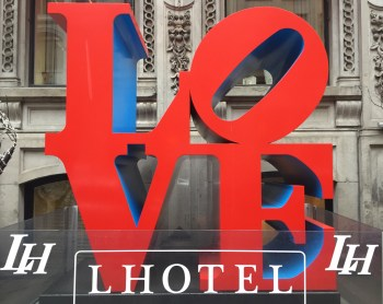 Iconic 'love' sign outside L'Hotel