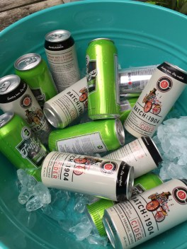 Local cider and craft beer on ice for guests