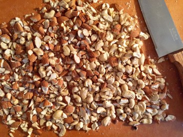 Chop the nuts either by hand or in a food processor