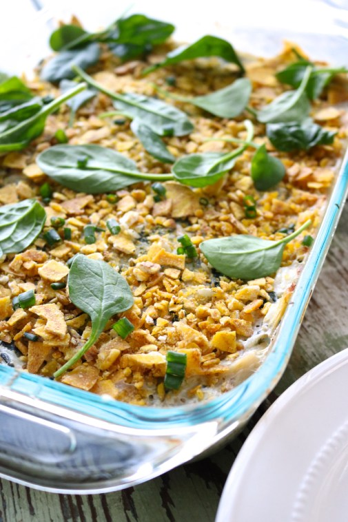 Spinach Artichoke Dip Casserole | Spinach artichoke dip can be an entree too! This chicken casserole has a dairy free spinach artichoke dip baked right in. | eatsomethingdelicious.com