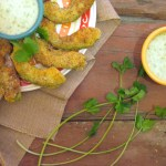 Avocado Fries with Jalapeno Cilantro Dip | Paleo avocado fries seasoned with a hint of cayenne are served with an addicting jalapeño cilantro dip made from dairy-free yogurt. Makes a great appetizer. | eatsomethingdelicious.com
