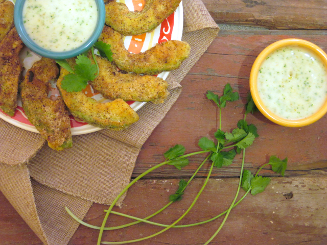 Super Bowl Potluck - Avocado Fries with Jalapeno Cilantro Dip | A Slice of Ky and I are getting together for a potluck and sharing our best Super Bowl recipes - online, of course! | eatsomethingdelicious.com