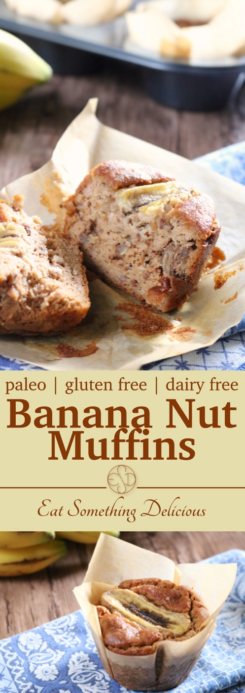 Banana Nut Muffins | Paleo banana nut muffins that can be made in a blender for easy cleanup. Free from gluten, dairy, and refined sugar yet taste just like the original version. | eatsomethingdelicious.com