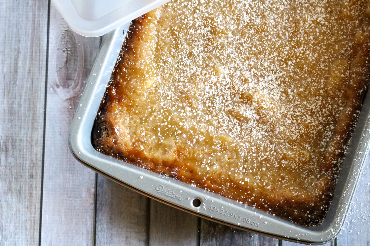 "Dairy Free Gooey Butter Cake | A classic St. Louis dessert made dairy free and gluten free. Yellow cake is covered in a sweet and creamy ""gooey"" layer with a perfectly flaky top. 