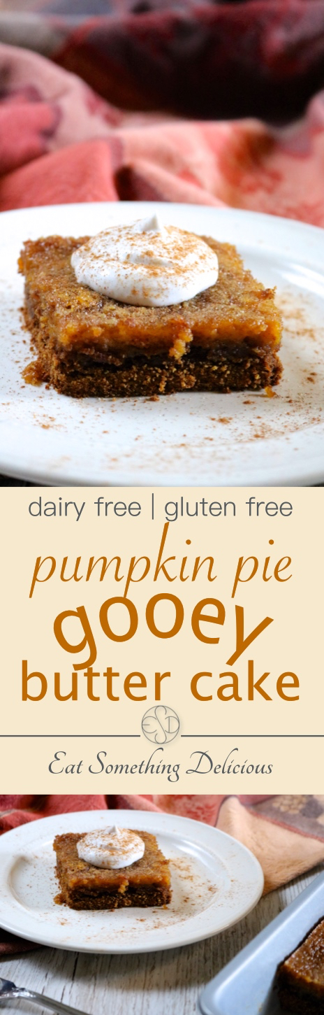 Pumpkin Pie Gooey Butter Cake | A fall version of the classic St. Louis dessert, this tastes like the perfect combination of pumpkin pie and gooey butter cake. Dairy free and gluten free. | eatsomethingdelicious.com