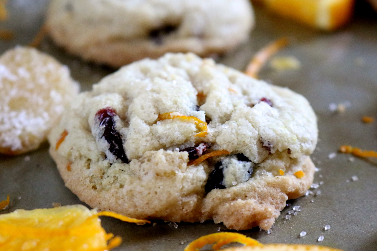 Candied Ginger & Cranberry Cookies | Soft, yet crisp, cookies packed with sweet & spicy candied ginger pieces, tangy dried cranberries, and a just a hint of orange. Gluten free, dairy free. | eatsomethingdelicious.com