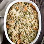 "Cheesy Tuna Noodle Casserole | ""Cheesy"" tuna noodle casserole without the dairy or gluten. This classic comfort food is ready to go in the oven in just 10 minutes. 