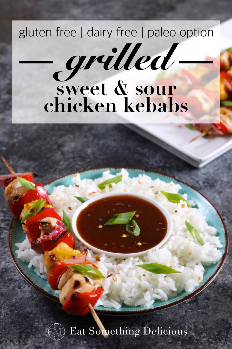 Grilled Sweet & Sour Chicken Kebabs | Put these kebabs on the grill for an outdoor cooking spin on sweet & sour chicken with less mess. This recipe is gluten and dairy free with a paleo option. | eatsomethingdelicious.com